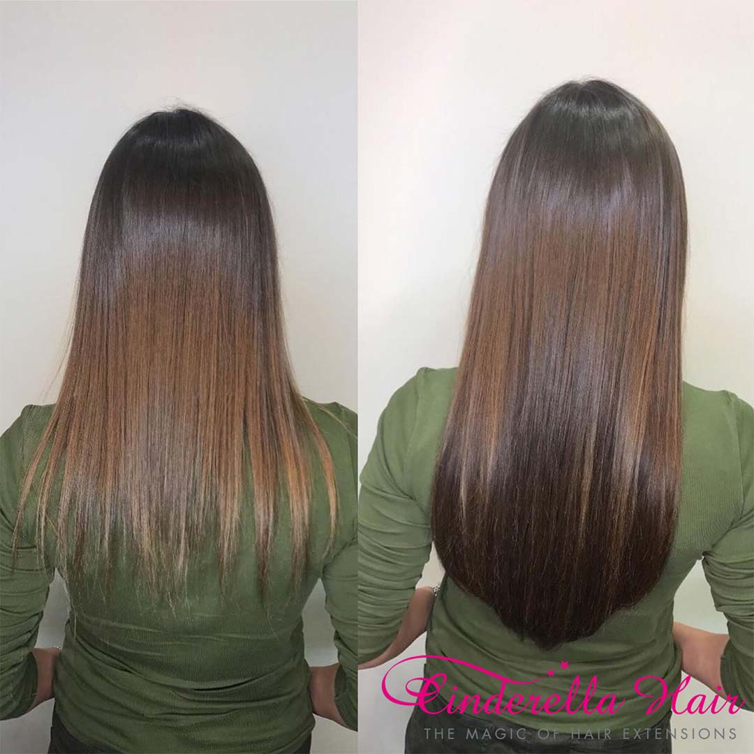 Image of Cinderella Hair Extensions Before & After. Application-I I-Tip/Stick Tip Cinderella Hair Extensions