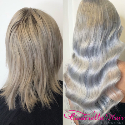 Image of Cinderella Hair Extensions Before & After. Keratin Bond, Pre-Bonded Cinderella Hair Extensions
