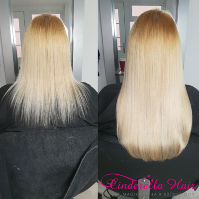 Image of Cinderella Hair Extensions before & after