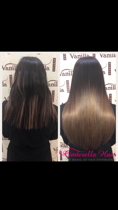 Image of Cinderella Hair Balayage Hair Extensions before & after