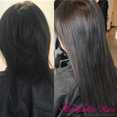 Image of Cinderella Hair Dark Ash Colour Chocolate Hair Extensions before & after
