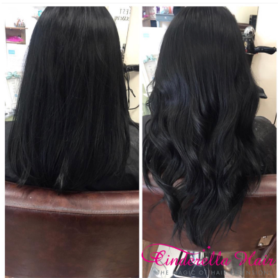 Image of Cinderella Hair Dark Black Colour 1 Hair Extensions before & after