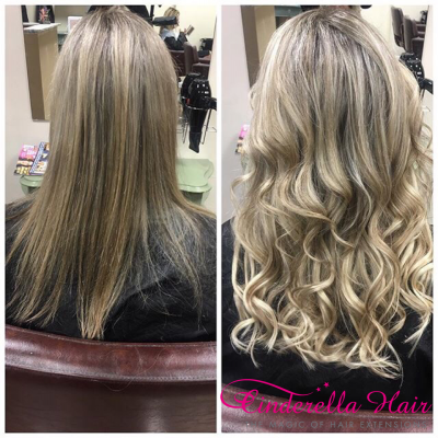 Image of Cinderella Hair Pre Bonded Hair Extensions before after