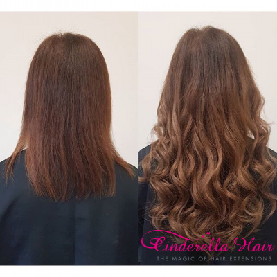 Image of Cinderella Hair Pre Bonded Hair Extensions before after Brown Brunette Colour