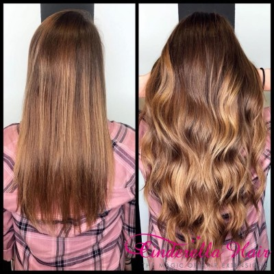 Image of Cinderella Hair Pre Bonded Body Wave Hair Extensions before after Brown Brunette Colour