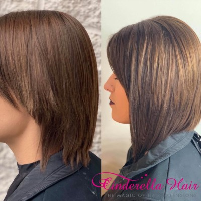 Image of Cinderella Hair Extensions Before After Micro Ring I Tip Stick Hair Extensions