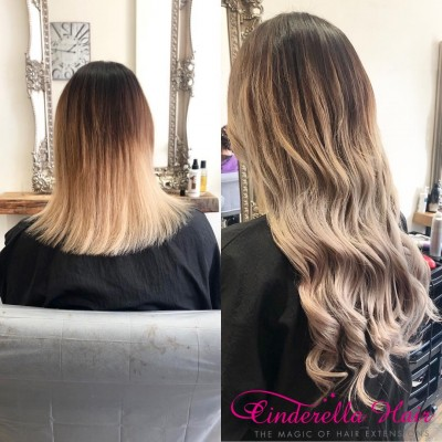 Image of Cinderella Hair Pre Bonded Balayage Hair Extensions before after Balayage Colour